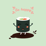 Ð¡ute cartoon roll, suchi. Japanese food. Vector illustration of a cute cartoon roll, suchi. Japanese food. Greeting card with text, template. Eps 10 Stock Image