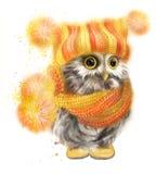 Оwl in einem gelben Schal und in einem Hut Lizenzfreie Stockfotos
