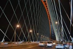 Ð ¡ zostawał bridżowym nad rzecznym Ob w Novosibirsk przy nocą, Syberia zdjęcia royalty free
