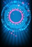 Ðlue abstrakter Hintergrund mit glühenden Leuchten stock abbildung