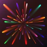 Салют пестротканого конспекта накаляя праздничный, фейерверки, волшебная энергия, гениальное электрическое космическое пламенисто иллюстрация вектора