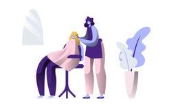 Салон стиля причесок красоты Профессиональная услуга от стилизатора парикмахера делает вводить парикмахерские услуги в моду для к иллюстрация вектора