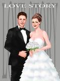 Свадебная церемония жениха и невеста, поздравительная открытка замужества, приветствие, внутри бесплатная иллюстрация