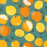 Свежие апельсины и лимоны, красочная безшовная картина иллюстрация штока