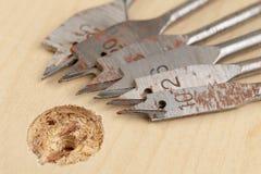 Сверлить с лопастью сверлит внутри макулатурный картон Работа плотничества в мастерской плотничества стоковое фото
