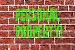 Свойство текста сочинительства слова личное Концепция дела для искусства кирпичной стены владельца частного лица имуществ владени стоковое изображение rf