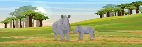 Семья африканских носорогов Мать и ее новичок иллюстрация штока