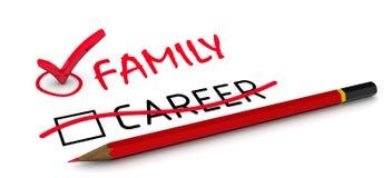 Семья, но не карьера Концепция изменять заключение бесплатная иллюстрация