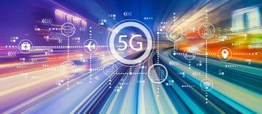 сеть 5G с высокоскоростной нерезкостью движения стоковое фото rf