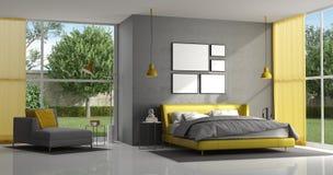 Серая и желтая спальня хозяев бесплатная иллюстрация