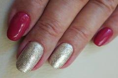 Серебристые и бургундские варианты расцветки ногтя стоковая фотография