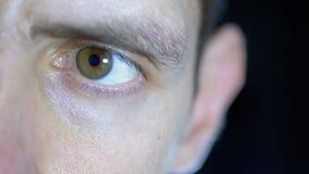 Серьезный взгляд молодого человека который сконцентрировал работы на черной предпосылке сток-видео