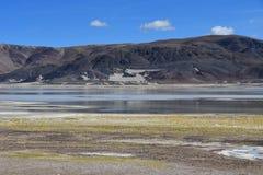 Сильно соляное озеро Drangyer Tsaka в Тибете в солнечном дне, Китае стоковые изображения rf