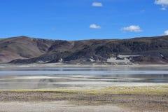 Сильно соляное озеро Drangyer Tsaka в Тибете в солнечном дне, Китае стоковая фотография rf
