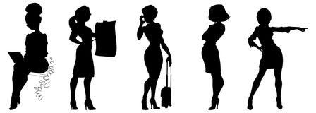 Силуэты иллюстрации вектора девушек дела на белой предпосылке иллюстрация штока