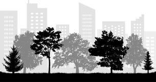 Силуэт парка города городской также вектор иллюстрации притяжки corel стоковая фотография