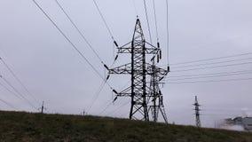 Силуэт, передача, башни Подстанция электричества, линия электропередач, электростанция, оборудование, кабель видеоматериал