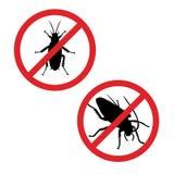 Силуэт таракана в знаке запрета Значок насекомого также вектор иллюстрации притяжки corel бесплатная иллюстрация