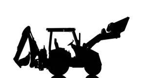 Силуэт трактора Backhoe, изолированный на белой предпосылке стоковые фото