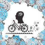 Силуэт человеческой головы с механизмом в мозге на велосипеде, среди шестерней голубой вектор неба радуги изображения облака иллюстрация вектора