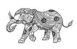Символ эскиза слона руки вычерченный Элемент вектора Trunked животный в ультрамодном стиле искусства дзэна иллюстрация штока