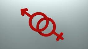 Символ человека и женщины, соединение и символ любов, 3d представляя предпосылку, произведенный компьютер иллюстрация вектора