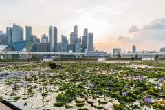 Сингапур, 29, сентябрь 2018: взгляд на деловом районе в заходе солнца стоковая фотография rf