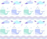 Синий кит в море Картина волн и падений бесплатная иллюстрация