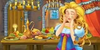 Сказка мультфильма с принцессой в замке таблицей вполне еды смотря и усмехаясь иллюстрация штока