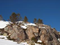 Скала на снежном наклоне против голубого неба с уединенным деревом на верхней части стоковые фотографии rf