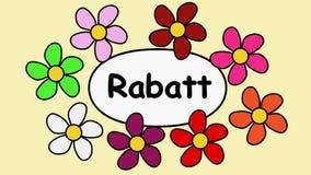 Скидка цветков и текста Deutsch Картина мультфильма с цветками и скидкой надписи
