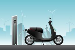 Electric scooter for sharing. With charging station. Vector illustration EPS 10 royalty free illustration
