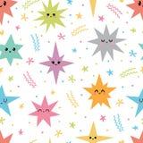 Сладкая безшовная картина с красочными smiley звездами Романтичная печать Милой предпосылка нарисованная рукой бесплатная иллюстрация