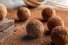 Сладкие сырцовые трюфеля шоколада напудренные с какао стоковое изображение rf