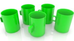 Случайно 5 зеленых пустых чашек иллюстрация вектора