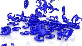 Случайно падая евро подписывает в голубом цвете иллюстрация вектора