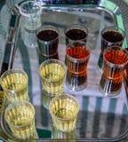 Смешанные алкогольные напитки в стеклах на подносе стоковая фотография