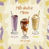Смешивание ягоды, карамелька Solt, рецепт набора Milkshake банана Элемент меню для кафа или ресторан с собранием напитков молока  иллюстрация штока