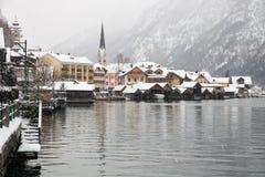 Снежности в Hallstatt стоковые изображения rf