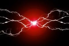 Сплавливание красной силы плазмы электричества энергии потрескивая стоковые изображения