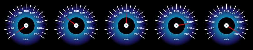 Vector image of car speedometer with different speed indicators vector illustration