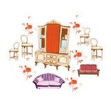 Vintage furniture vector illustration