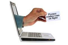 Сделайте онлайн встречи написанное во французском стоковые изображения rf