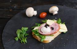 Сэндвич детей сделал в форме собаки Вариант сервировки детей стоковые фотографии rf