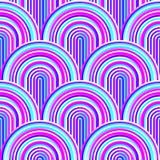 Сумасшедшие кривые - запутанная геометрическая картина с ярким пинком и голубыми цветами иллюстрация штока