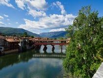 Старый деревянный мост над рекой Brenta стоковые изображения rf
