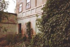 Старое здание, кирпичное здание, обрушенное здание, здание плюща, здание лета, ретро здание стоковые изображения