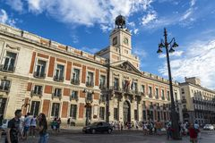 Старое королевское здание почтового отделения, Puerta del Sol, Мадрид, Испания стоковое изображение rf