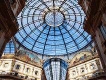 Стеклянный купол Galleria Vittorio Emanuele в милане стоковое фото rf