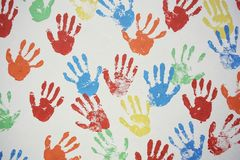 Стена текстуры Handprint стоковое изображение rf
